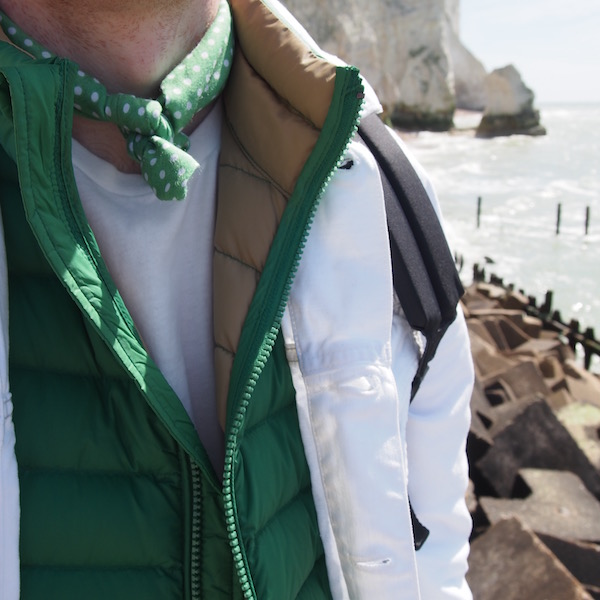 green white menswear the chic geek ootd puffa gilet