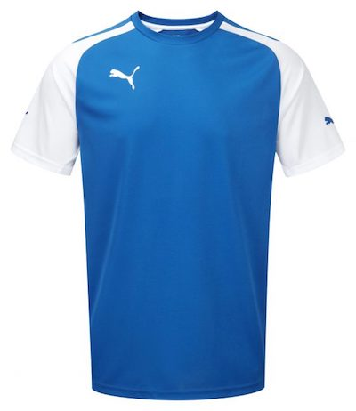 Blue white football shirt puma The Chic Geek menswear