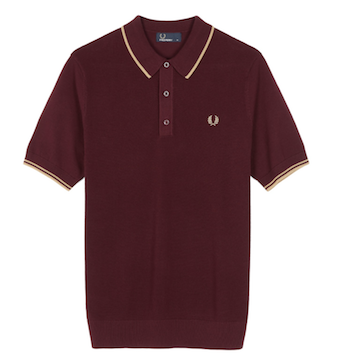 knitted polo shirt burgundy Fred Perry