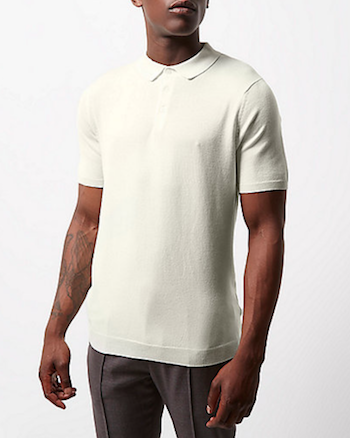 knitted polo shirt River Island ecru