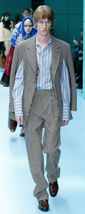 AW18 menswear trends Milan Gucci jacket open arms