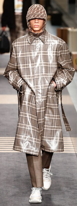 AW18 menswear trends Milan Fendi shiny coat