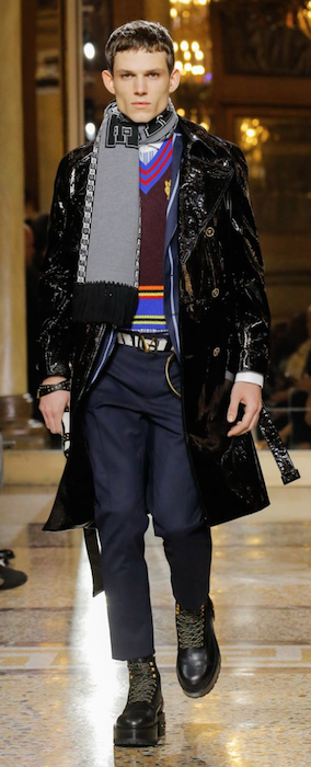 AW18 menswear trends Milan shiny coat versace