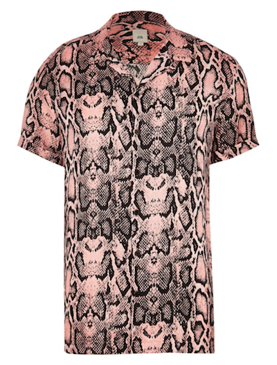 Men's fashion trends snakeskin shirt River Island