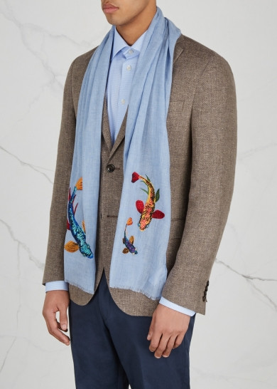 Paul Smith summer scarf koi carp light blue menswear