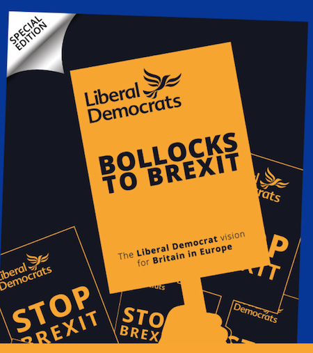 Lib dems Bollocks to Brexit slogans pushing boundaries
