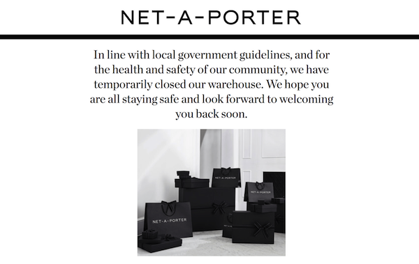 fashion covid 19 net a porter closed in store warehouse