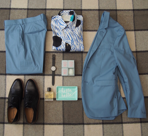 flatlay ootd the chic geek menswear blogger blue suit