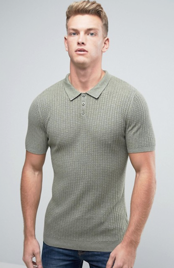 knitted polo green shirt ASOS menswear