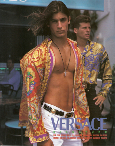 men's medallion necklaces silk shirts vintage versace
