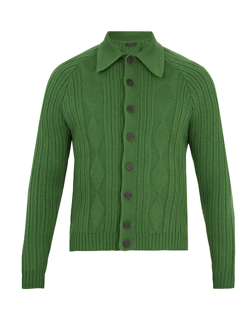 Green Prada Pointed Cardigan Menswear Top Picks The Chic Geek