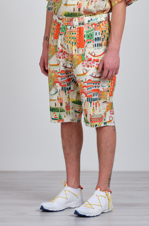 Barena Venice print linen shorts top menswear products
