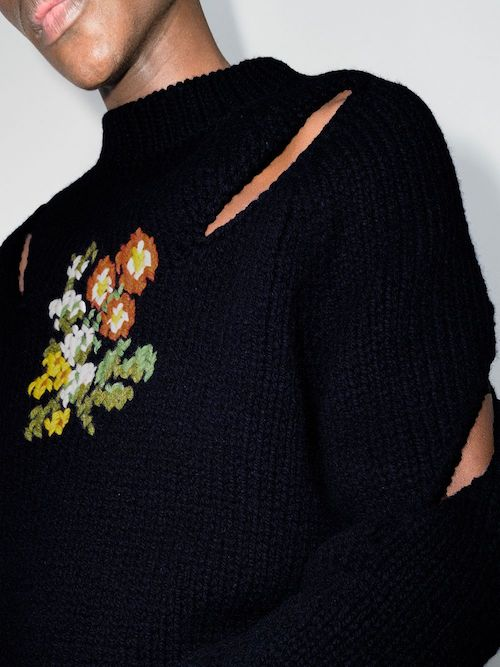 menswear product to buy now stefan cooke embroidered slashed jumper