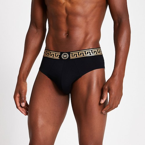 Versace greek key underwear black gold pants